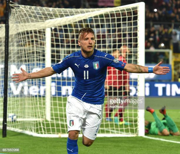 Ciro Immobile of Italy celebrates after scoring the second goal during the FIFA 2018 World Cup Qualifier between Italy and Albania at Stadio Renzo...