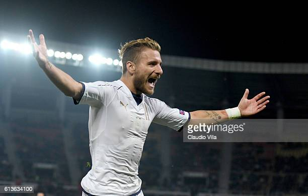 Ciro Immobile of Italy celebrates after scoring the third goal during the FIFA 2018 World Cup Qualifier between FYR Macedonia and Italy at Nacionalna...