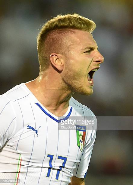 Ciro Immobile of Italy celebrates scoring the second goal during the international friendly match between Italy and Fluminense FC on June 8 2014 in...