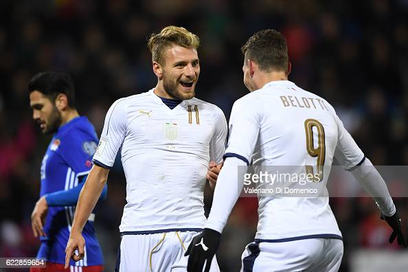Ciro Immobile of Italy celebrates with teammate Andrea Belotti the second goal during the FIFA 2018 World Cup Qualifier between Liechtenstein and...