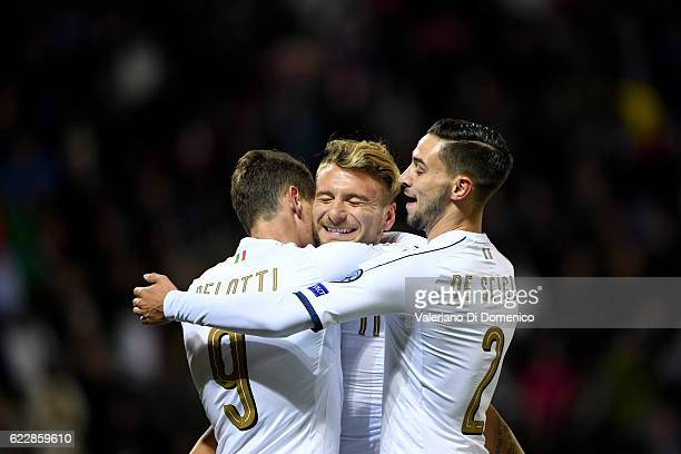 Ciro Immobile of Italy celebrates with teammates Andrea Belotti and Mattia De Sciglio during the FIFA 2018 World Cup Qualifier between Liechtenstein...
