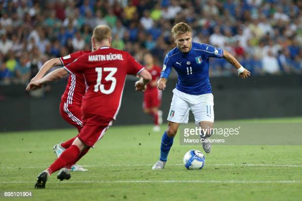 Ciro Immobile of Italy during the FIFA 2018 World Cup Qualifier match between Italy and Liechtenstein Italy went on to win the match 50