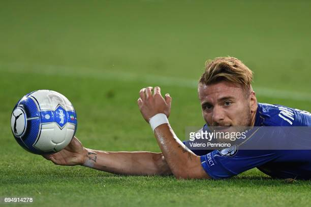 Ciro Immobile of Italy falls to the ground during the FIFA 2018 World Cup Qualifier between Italy and Liechtenstein at Stadio Friuli on June 11 2017...
