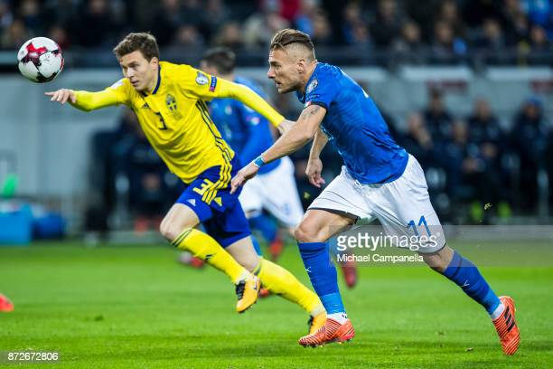 Ciro Immobile of Italy in a duel with Victor Nilsson Lindelof of Sweden during the FIFA 2018 World Cup Qualifier PlayOff First Leg between Sweden and...