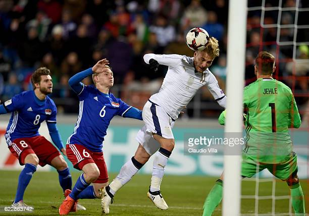 Ciro Immobile of Italy in action during the FIFA World Cup 2018 group G Qualifiers football match beetween Liechtenstein and Italy at the Rheinpark...