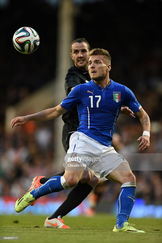 <a gi-track='captionPersonalityLinkClicked' href=/galleries/search?phrase=Ciro+Immobile&family=editorial&specificpeople=5820229 ng-click='$event.stopPropagation()'>Ciro Immobile</a> of Italy in action during the International Friendly match between Italy and Ireland at Craven Cottage on May 30, 2014 in London, England.