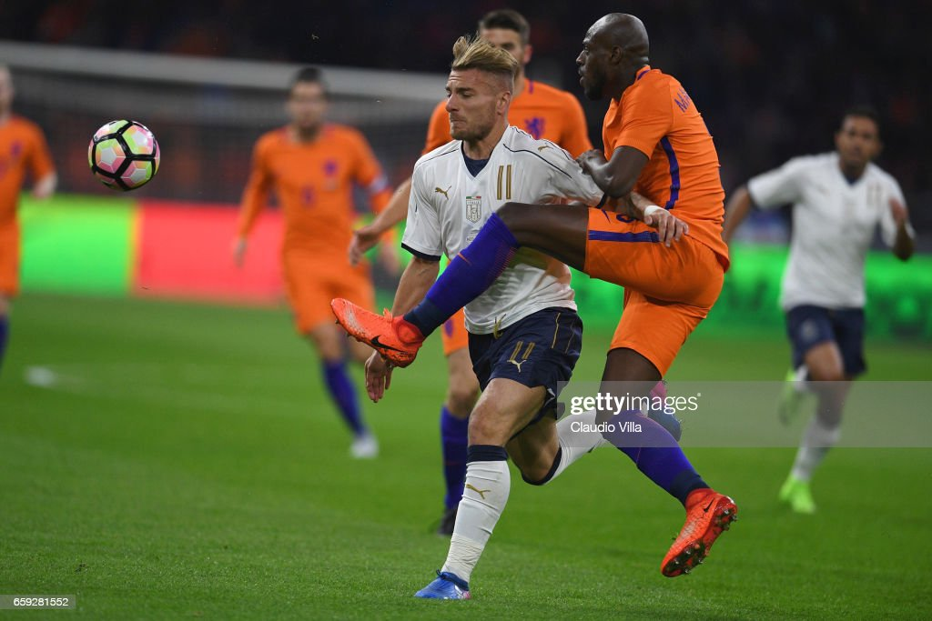 Ciro Immobile (L) of Italy in action during the international friendly match between Netherlands and Italy at Amsterdam Arena on March 28, 2017 in Amsterdam, Netherlands.