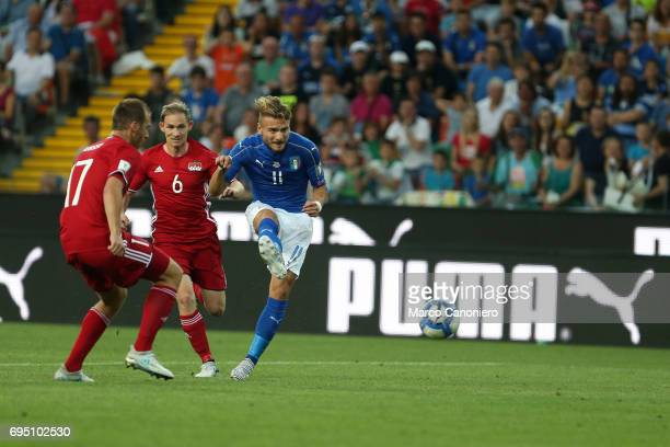 Ciro Immobile of Italy in action during the WC 2018 football qualification match between Italy and Liechtenstein Italy went on to win the match 50