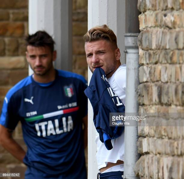 Ciro Immobile of Italy looks on during the training session at Coverciano on June 10 2017 in Florence Italy