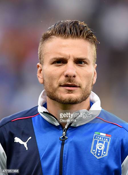 Ciro Immobile of Italy poses prior to the international friendly match between Portugal and Italy at Stade de Geneve on June 16 2015 in Geneva...