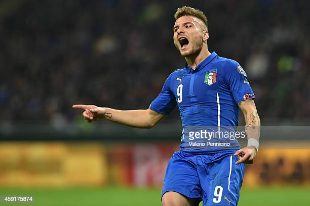Ciro Immobile of Italy reacts during the EURO 2016 Group H Qualifier match between Italy and Croatia at Stadio Giuseppe Meazza on November 16 2014 in...