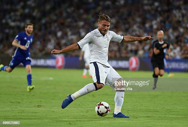 Ciro Immobile of Italy scores the third goal during the FIFA 2018 World Cup Qualifier between Israel and Italy at Itztadion Sammy Ofer on September 5...