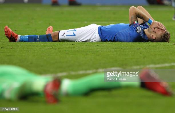 Ciro Immobile of Italy shows his dejection at the end of the FIFA 2018 World Cup Qualifier PlayOff Second Leg between Italy and Sweden at San Siro...