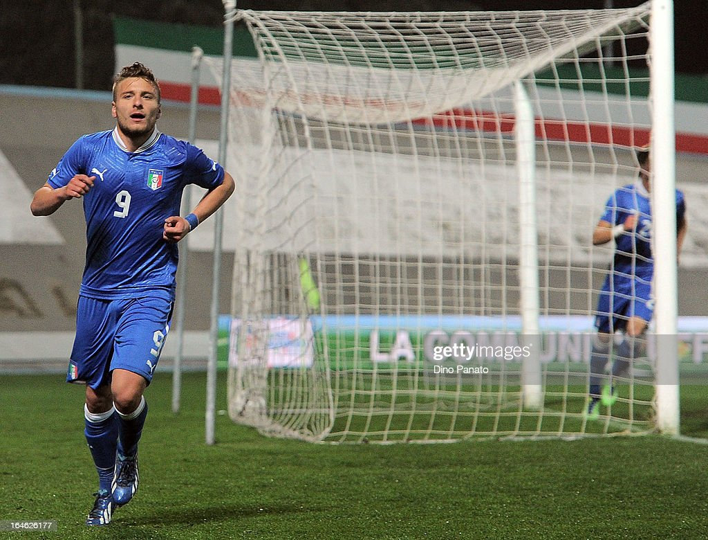 Ciro Immobile of Italy U21 celebrates after scoring his opening goal during the international friendly match between Italy U21 and Ukraine U21 at Stadio Rino Mercante on March 25, 2013 in Bassano del Grappa, Italy.