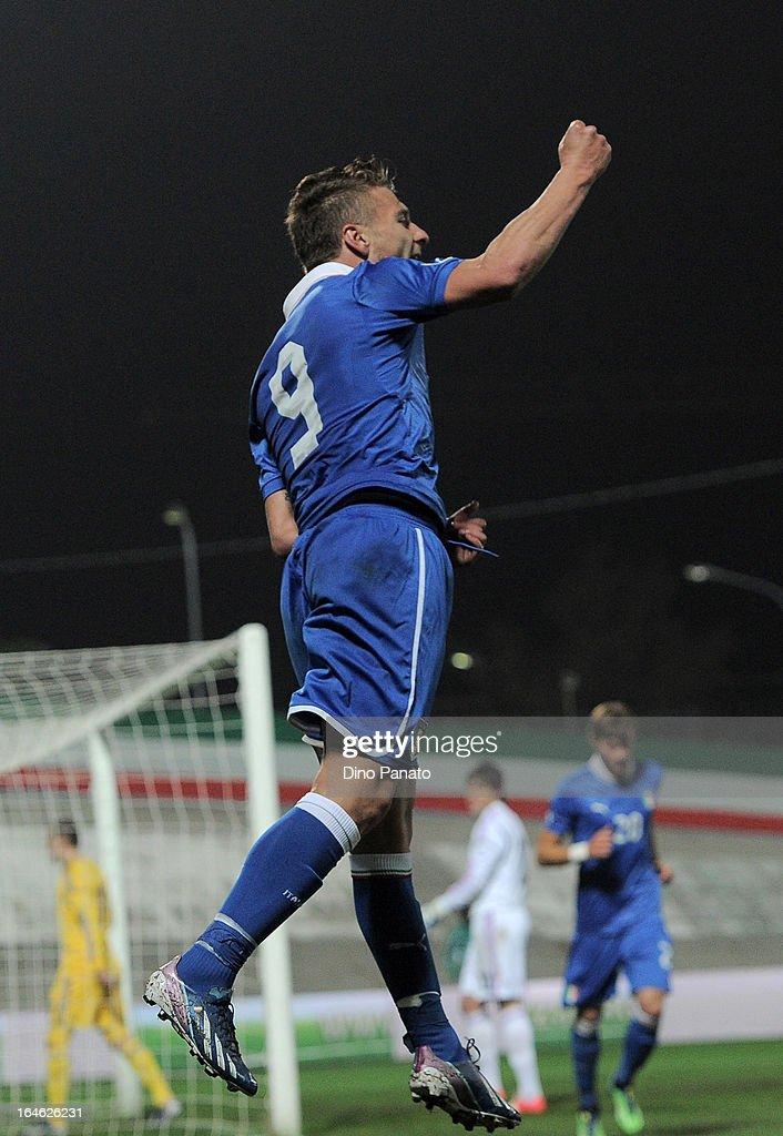 Ciro Immobile of Italy U21 celebrates after scoring the opening goal during the international friendly match between Italy U21 and Ukraine U21 at Stadio Rino Mercante on March 25, 2013 in Bassano del Grappa, Italy.