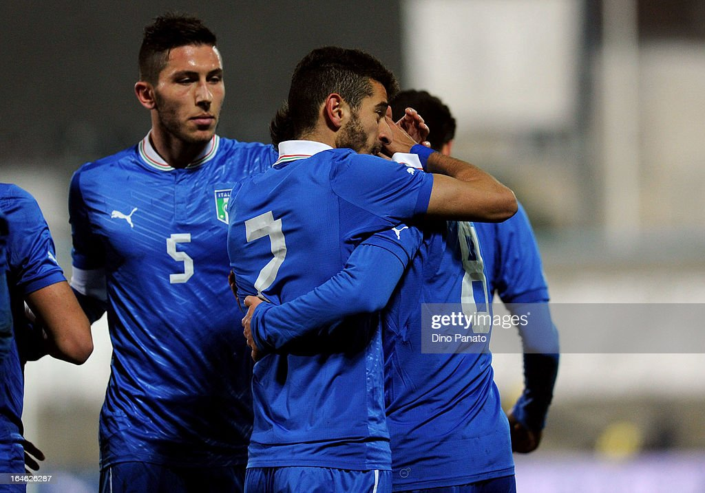 Ciro Immobile of Italy U21 celebrates with team-mates after scoring his opening goal during the international friendly match between Italy U21 and Ukraine U21 at Stadio Rino Mercante on March 25, 2013 in Bassano del Grappa, Italy.