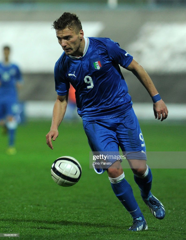 Ciro Immobile of Italy U21 in action during the international friendly match between Italy U21 and Ukraine U21 at Stadio Rino Mercante on March 25, 2013 in Bassano del Grappa, Italy.