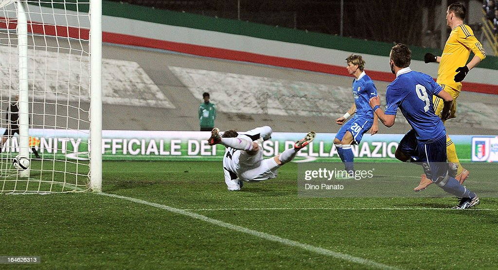 Ciro Immobile #9 of Italy U21 scores his opening goal during the international friendly match between Italy U21 and Ukraine U21 at Stadio Rino Mercante on March 25, 2013 in Bassano del Grappa, Italy.