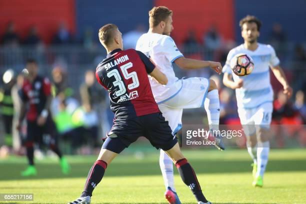 CIro Immobile of Lazio and Bartosz Salamon of Cagliari in contrast during the Serie A match between Cagliari Calcio and SS Lazio at Stadio Sant'Elia...