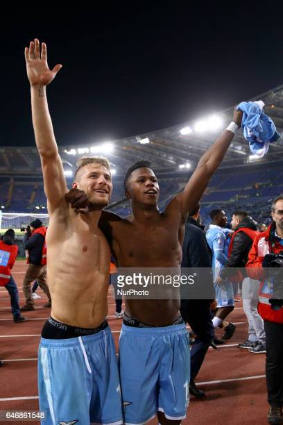 Ciro Immobile of Lazio and Keita Balde Diao of Lazio celebrating the victory during the Italian TIM Cup 1st leg semifinal football match on March 1...