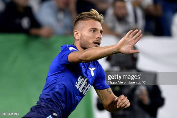 Ciro Immobile of Lazio celebrates his first goal during the Serie A match between Juventus and SS Lazio on October 14 2017 in Turin Italy