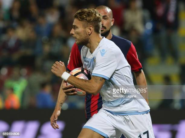 Ciro Immobile of Lazio is shown after his goal with penalty during the Serie A match between FC Crotone and SS Lazio at Stadio Comunale Ezio Scida on...