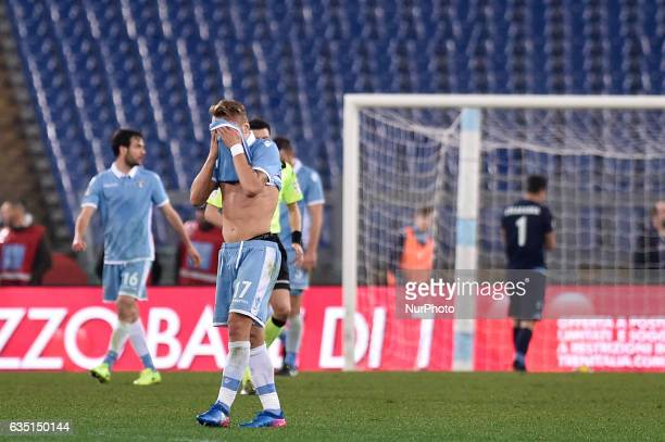 Ciro Immobile of Lazio looks dejected after Suso of AC Milan scored first goal during the Serie A match between Lazio and Milan at Stadio Olimpico...