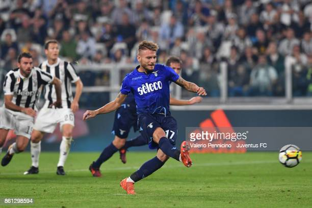 Ciro Immobile of Lazio scores his first goal during the Serie A match between Juventus and SS Lazio on October 14 2017 in Turin Italy