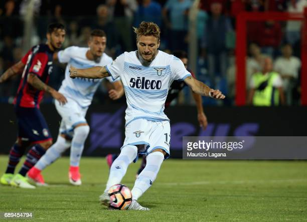 Ciro Immobile of Lazio scores his goal with penalty during the Serie A match between FC Crotone and SS Lazio at Stadio Comunale Ezio Scida on May 28...