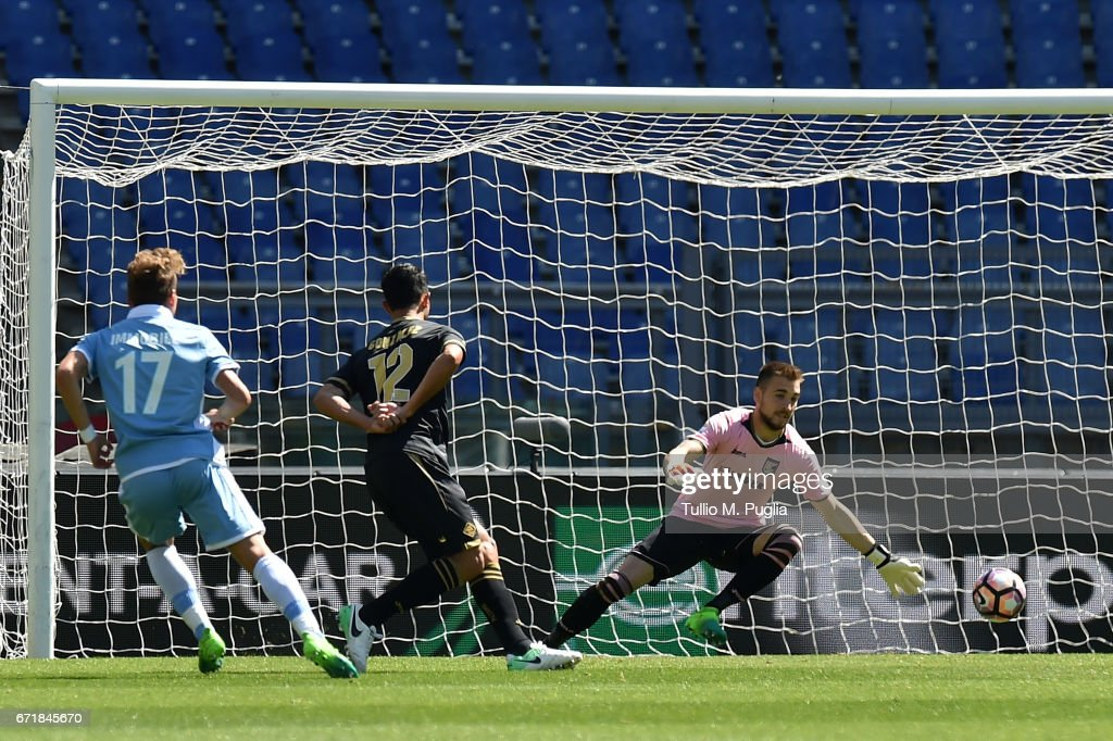 Ciro Immobile of Lazio scores his team's second goal during the Serie A match between SS Lazio and US Citta di Palermo at Stadio Olimpico on April 23, 2017 in Rome, Italy.