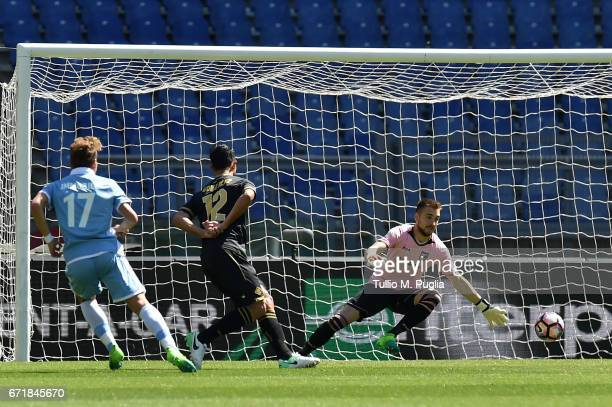 Ciro Immobile of Lazio scores his team's second goal during the Serie A match between SS Lazio and US Citta di Palermo at Stadio Olimpico on April 23...