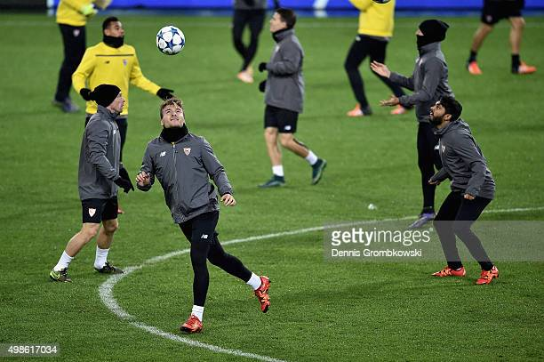 Ciro Immobile of Sevilla FC practices during a training session ahead of their UEFA Champions League Group D match against Borussia Moenchengladbach...