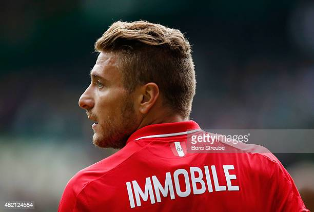 Ciro Immobile of Sevilla looks on during the friendly match between SV Werder Bremen and FC Sevilla at Weserstadion on July 25 2015 in Bremen Germany