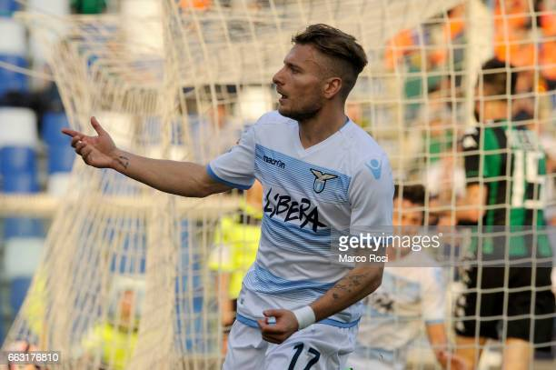 Ciro Immobile of SS Lazio celebrates a first goal during the Serie A match between US Sassuolo and SS Lazio at Mapei Stadium Citta' del Tricolore on...