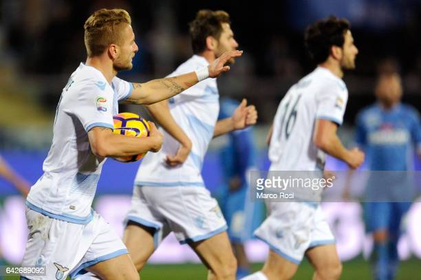 Ciro Immobile of SS Lazio celebrates a opening goal during the Serie A match between Empoli FC and SS Lazio at Stadio Carlo Castellani on February 18...