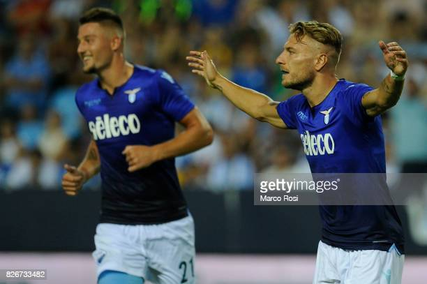 Ciro Immobile of SS Lazio celebrates a opening goal with his team mate during the PreSeason Friendly match between Malaga CF and SS Lazio at Estadio...
