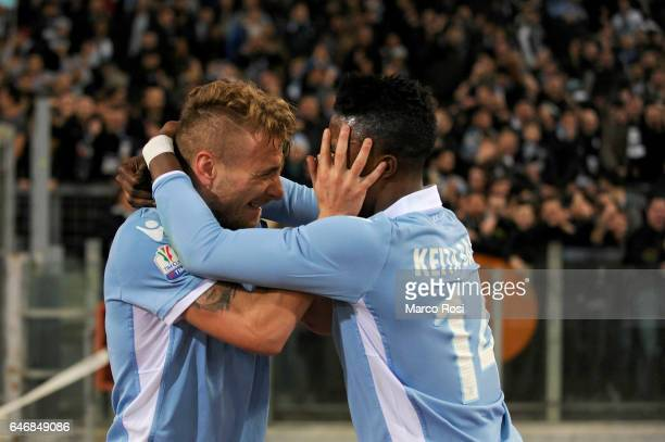 Ciro Immobile of SS Lazio celebrates a second goal during the TIM Cup match between SS Lazio and AS Roma at Olimpico Stadium on March 1 2017 in Rome...