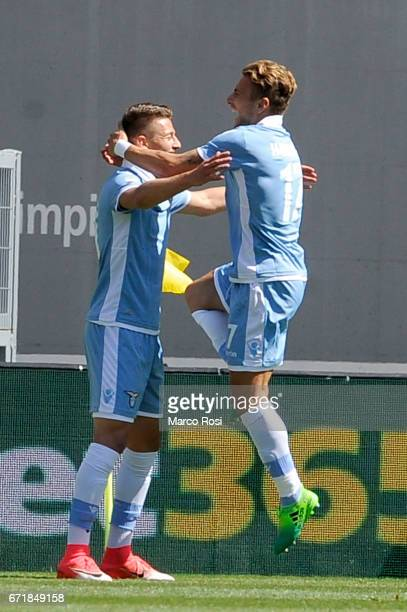 Ciro Immobile of SS Lazio celebrates a second goal eith Sergej Milinkovic Savic during the Serie A match between SS Lazio and US Citta di Palermo at...