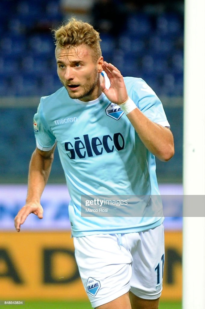 Ciro Immobile of SS Lazio celebrates a third goal during the Serie A match between Genoa CFC and SS Lazio at Stadio Luigi Ferraris on September 17, 2017 in Genoa, Italy.