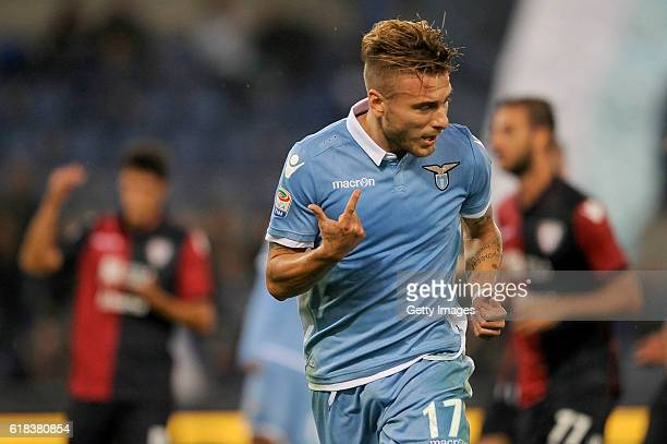 Ciro Immobile of SS Lazio celebrates after scoring a third goal during the Serie A match between SS Lazio and Cagliari Calcio at Stadio Olimpico on...