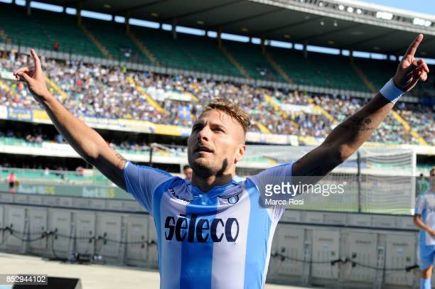Ciro Immobile of SS Lazio celebrates after scoring his team's second goal during the Serie A match between Hellas Verona FC and SS Lazio at Stadio...