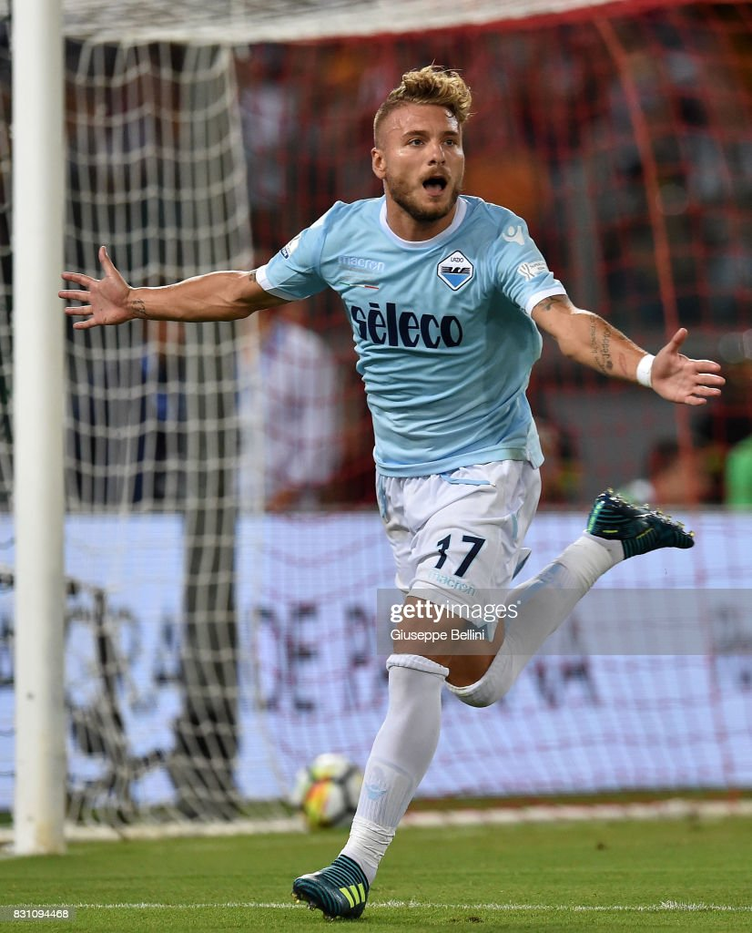 Ciro Immobile of SS Lazio celebrates after scoring the opening goal during the Italian Supercup match between Juventus and SS Lazio at Stadio Olimpico on August 13, 2017 in Rome, Italy.
