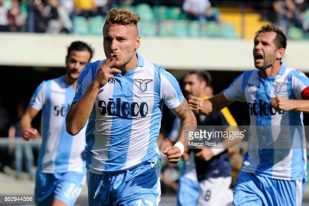 Ciro Immobile of SS Lazio celebrates after scoring the opening goal during the Serie A match between Hellas Verona FC and SS Lazio at Stadio...