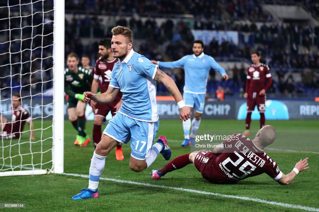 Ciro Immobile of SS Lazio celebrates scoring the opening goal during the Serie A match between SS Lazio and FC Torino at Stadio Olimpico on March 13, 2017 in Rome, Italy.