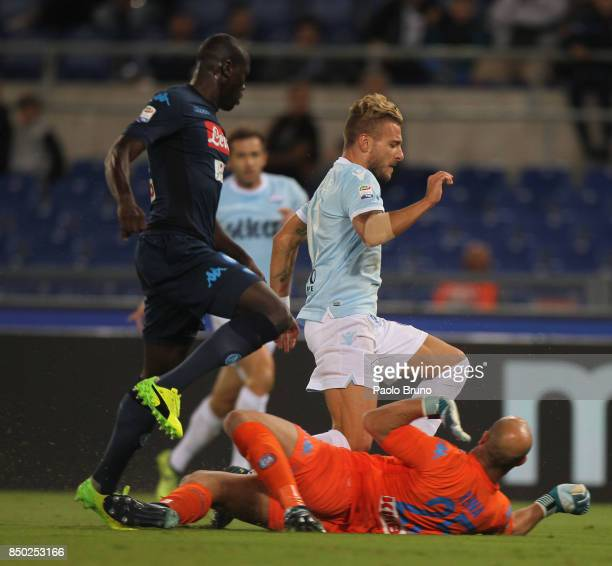 Ciro Immobile of SS Lazio competes for the ball with Kalidou Koulibaly of SSC Napoli during the Serie A match between SS Lazio and SSC Napoli at...