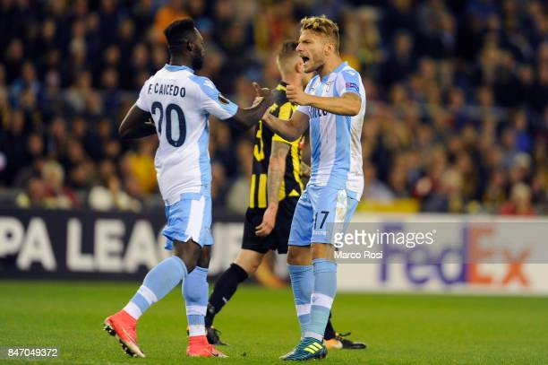Ciro Immobile of SS Lazio cxelebrates a second goal during the UEFA Europa League group K match between Vitesse and SS Lazio at Gelredome on...