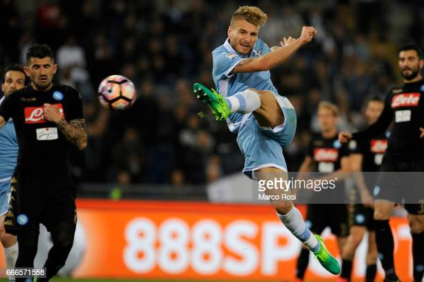Ciro Immobile of SS Lazio during the Serie A match between SS Lazio and SSC Napoli at Stadio Olimpico on April 9 2017 in Rome Italy