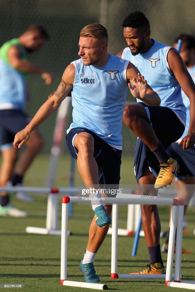 Ciro Immobile of SS Lazio in action during the SS Lazio training session on August 16, 2017 in Rome, Italy.