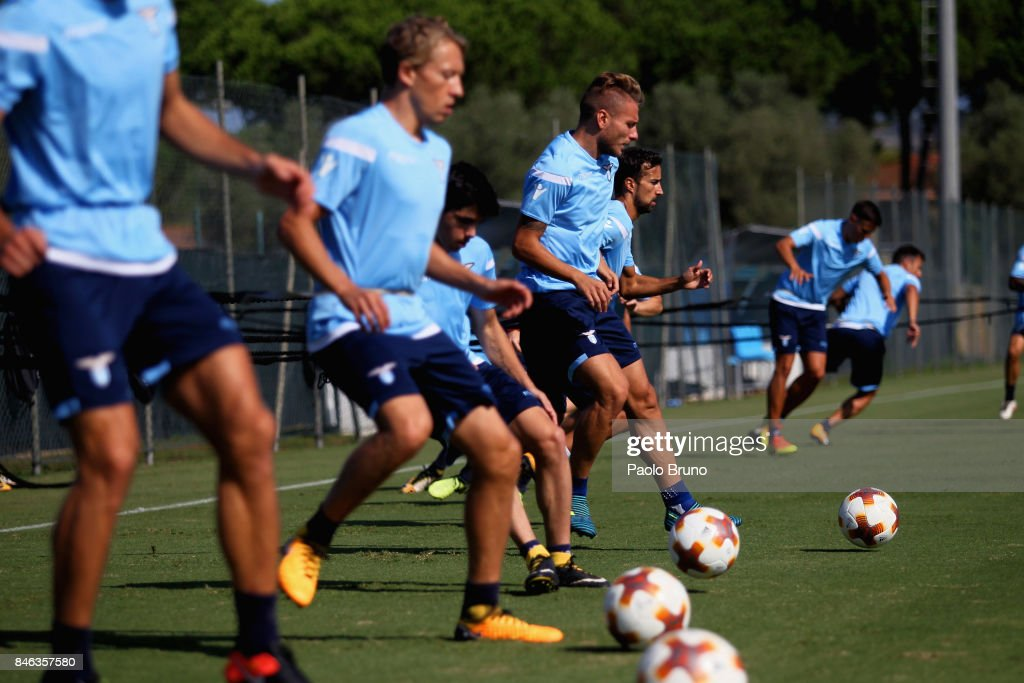 Ciro Immobile of SS Lazio in action during the SS Lazio training session on September 13, 2017 in Rome, Italy.