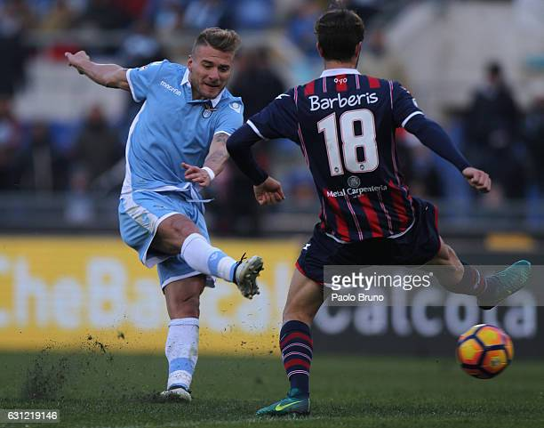 Ciro Immobile of SS Lazio kicks the ball during the Serie A match between SS Lazio and FC Crotone at Stadio Olimpico on January 8 2017 in Rome Italy